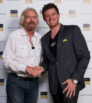 Sir Richard Branson with Canberra businessman Mick Spencer in Queensland this week.