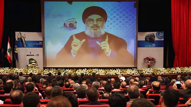 Inflamed rhetoric: Hezbollah's Hassan Nasrallah warns in a televised speech that Syria will continue to arm the militant ...