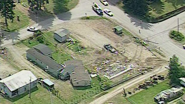Moving house: the wreckage left after Barry Swegle allegedly took his bulldozer to a neighbour's house.