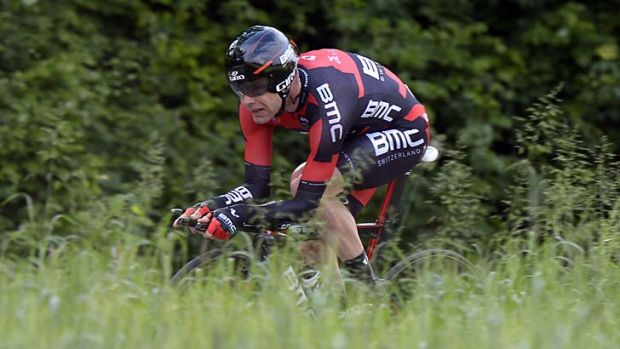 Sitting pretty: Cadel Evans during the individual time trial in the Giro d'Italia. He finished seventh, leaving him ...