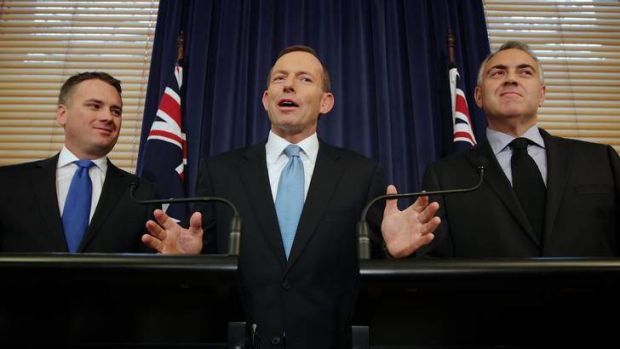 Opposition Leader Tony Abbott (with fellow Liberal MPs Jamie Briggs, left, and Shadow Treasurer Joe Hockey) said he has ...