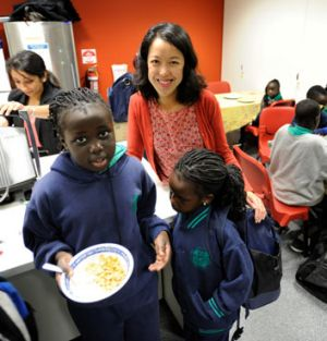 Serlina Chu at the breakfast club for children who live at the Atherton Gardens housing estate in Fitzroy.