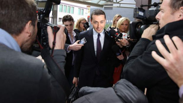 Spotlight: Bookmaker Tom Waterhouse arrives at the More Joyous inquiry.