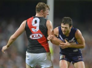 How's your father: Brendan Goddard reminds Hayden Ballantyne he's there.