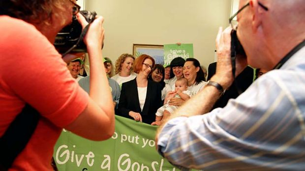 """""""Blatant political campaigns"""": Prime Minister Julia Gillard with campaigners from 'I Give a Gonski'."""