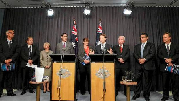 Bombshell: Government and sporting heavyweights at the announcement of the findings of the ACC report into drugs and ...