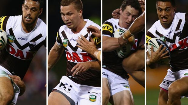Punching above their weight: Isaac John, Matt Moylan, David Simmons and Dean Whare.