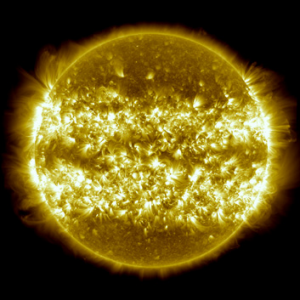 A composite of 25 separate images of the sun spanning the period of April 16, 2012, to April 15, 2013.