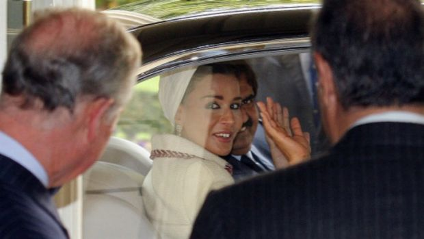 Sheikha Moza bint Nasser Al Missned on a recent visit to the UK.