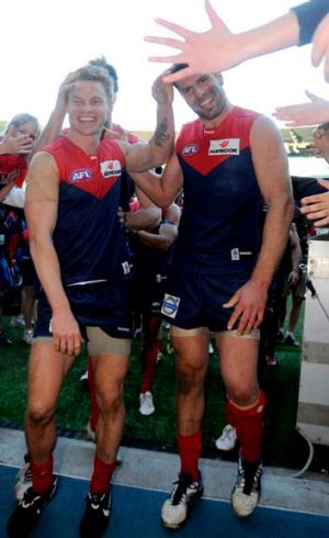 Remember this? Colin Sylvia and Mark Jamar after Melbourne beat Richmond in round 19, 2010.