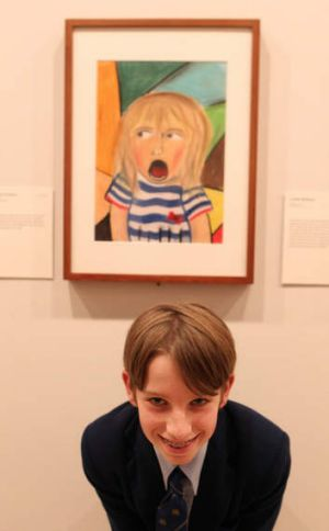 Winner, ages 13-15: Max Fontaine, 13, with his portrait of his sister.