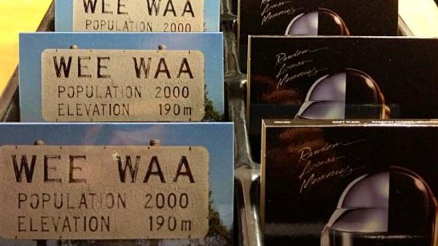 Special Wee Waa edition Daft Punk albums on display.