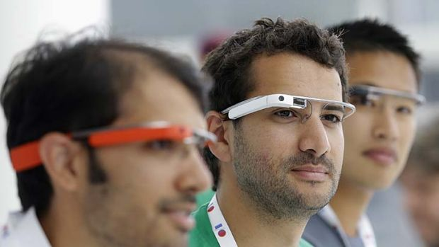 Quite a spectacle: Google Glass team members proudly sport Google Glasses.