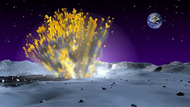 An artist's illustration of a meteor impacting the moon, resulting in an explosion visible from Earth.