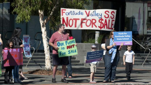 Parents protesting the possible sale of Fortitude Valley State School on Saturday.