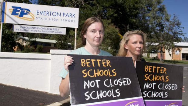 Parents Sue Ellis and Lauren Millard at Everton Park State High School, which faces possible closure.