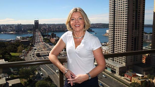 Kerry Chikarovski at her high-rise Sydney home.