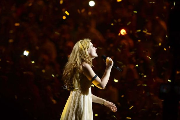 Denmark's Emmelie de Forest performs her winning title 'Only Teardrops'.