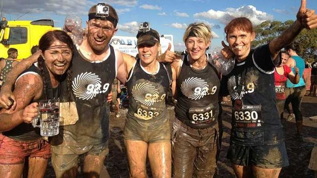 The 92.9 team after the finish of the Warrior Dash.