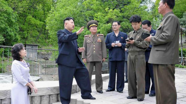North Korean leader Kim Jong-Un and his wife Ri Sol-Ju in a photo released by the North Korean state media on May 20.