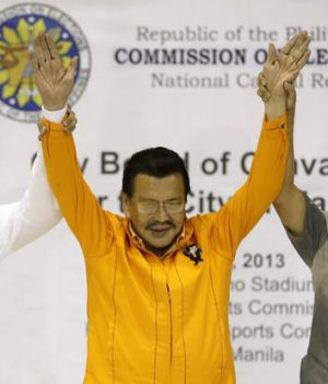 Joseph Estrada is proclaimed Mayor-elect of Manilla.