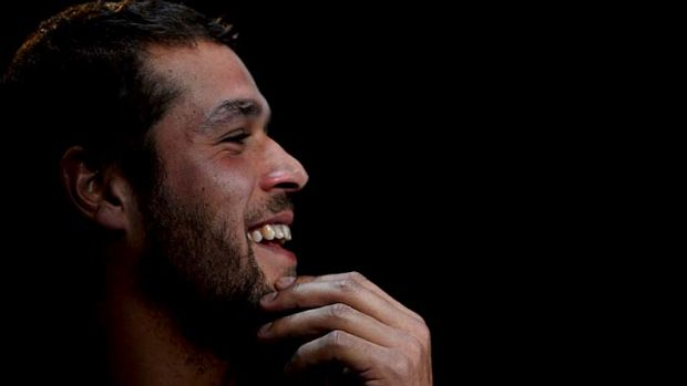 Lance Franklin speaks to the media on Tuesday.