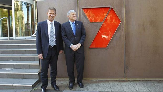 New broom: Chairman of Seven West Media Kerry Stokes (right) with new CEO, Tim Worner.