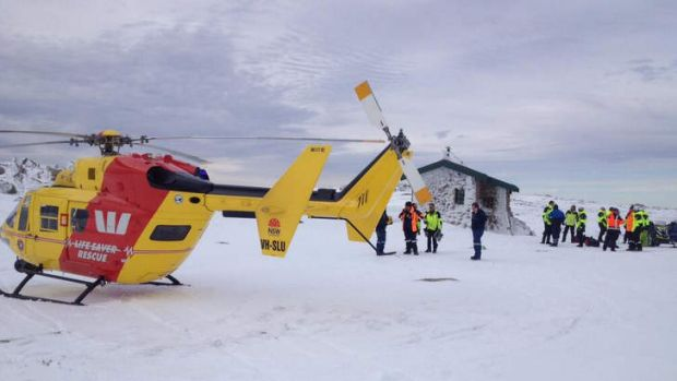 Westpac Life Saver Helicopter's Lifesaver 3 at Seamen's Hut, as the search for Canadian bushwalker Prabhdeep Srawn ...