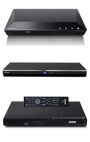 From top: Sony BDP-S1100 (The US option), Toshiba BDX3200KY and Laser BD1000.