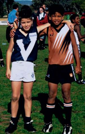 Stars in their eyes: A young Trent Cotchin and Cyril Rioli.