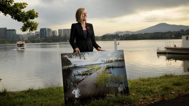 Chief Minister Katy Gallagher with The City Plan.