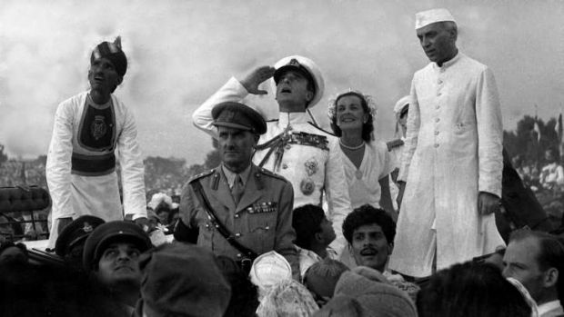 Independence day ... British governor-general Lord Mountbatten, centre, with lady Edwina Mountbatten and Indian prime ...