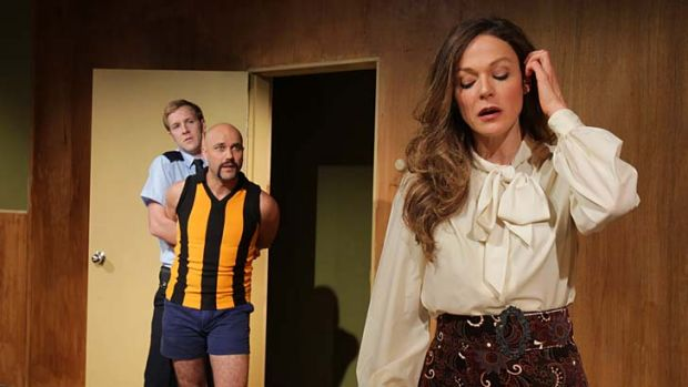 Domestic: Ross (Sam Sullivan), Kenny (Justin Stewart Cotta) and Fiona (Caroline Brazier).