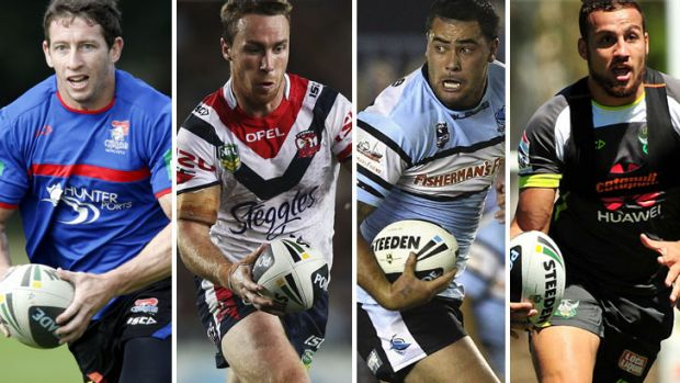 Feeling Blue: (from far left) Kurt Gidley is expected to be named in the NSW team along with new faces James Maloney, ...