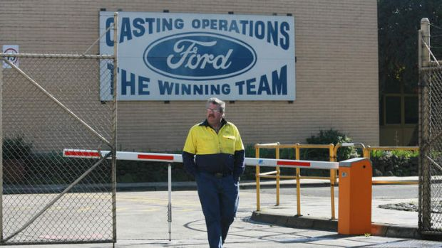 Bitter irony on the wall for Ford workers.