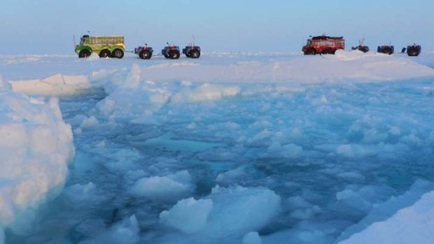 Explorers crossing the pole from the Russian archipelago Severnaya Zemlya to Resolute Bay, Canada in May 2013.