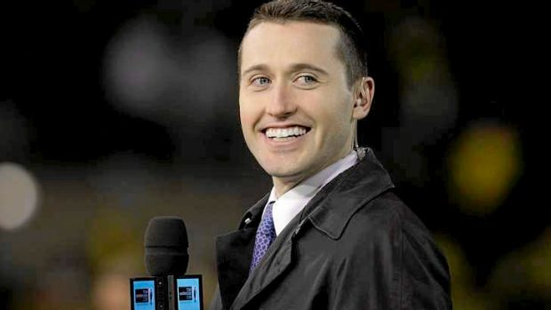 Tom Waterhouse during a rugby league broadcast.