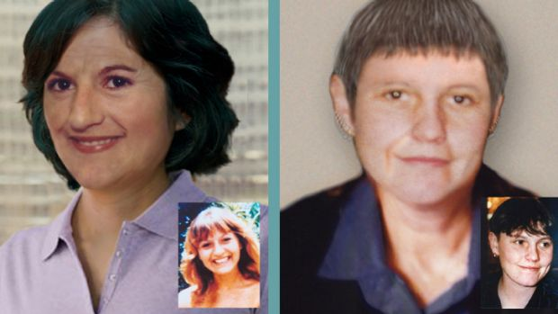 Left: Stella Farrugia how she may look now and inset, when she vanished at 18. Right: Shar Muller in a digitally-aged ...