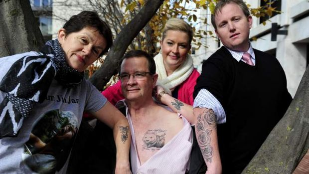 Sally and Mark Lynch with Sally and Anthony Kasparek got tattoos to honour of their late daughter and sister Jamie-Leigh.