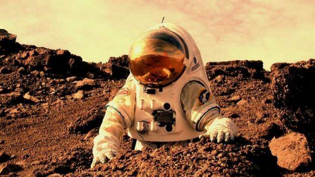 Artist rendering of astronaut on Mars.