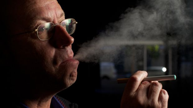 "E-cigarettes have helped Pat Shell but he says people are shocked when he ""lights up"" in public places."