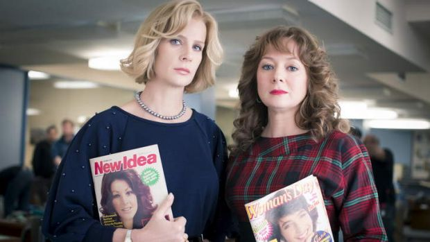 Rachel Griffiths (Dulcie Boling) and Mandy McElhinney (Nene King) in <i>Paper Giants: Magazine Wars</i>.