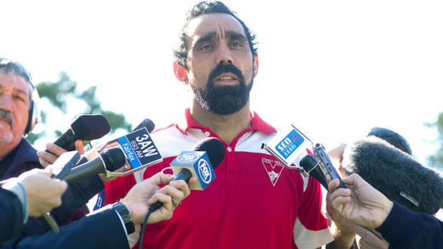 Sydney Swan Adam Goodes addresses the media after being called an 'ape' by a young Collingwood fan during the Indigenous ...