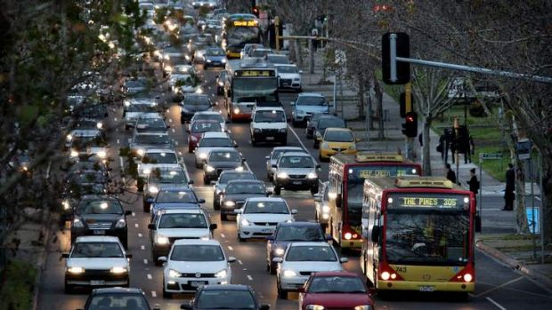 Going nowhere: A very congested Hoddle street at peak hour.