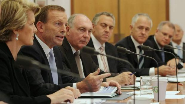 Opposition Leader Tony Abbott with his predominantly private school educated shadow cabinet. From left, Julie Bishop, ...