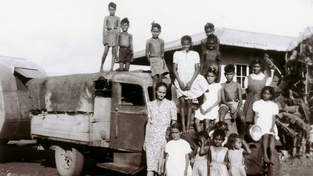 Mixed-race Aboriginal children living at Retta Dixon home in Darwin. Lorna Cubillo, aged about 9, is in the white dress ...