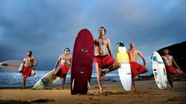 Shore thing: Ready for the indigenous surfing titles at Bells Beach are (from left) Jordie Campbell, Stan Moylan, Tom ...