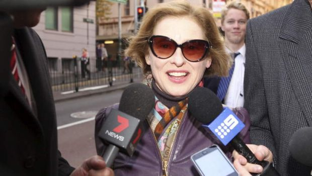 Gai Waterhouse arriving at Racing NSW headquarters on Monday.