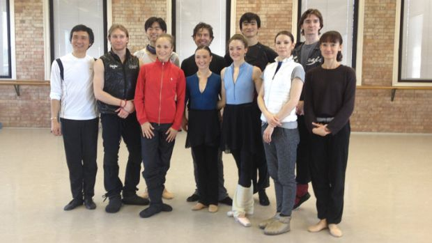 Bolshoi ballet dancers joined Queensland Ballet ensemble members for practice on Monday.