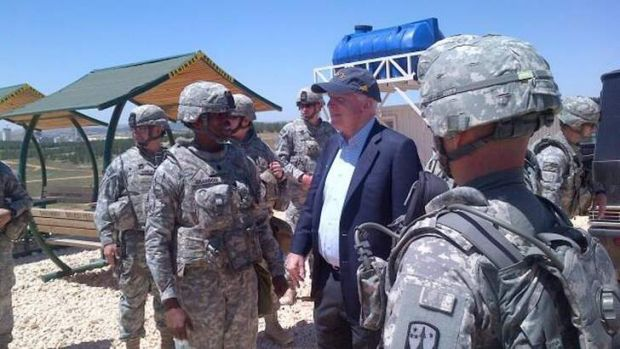 U.S. Senator John McCain is pictured with US troops at a Patriot missile site in southern Turkey on May 27, 2013 in this ...